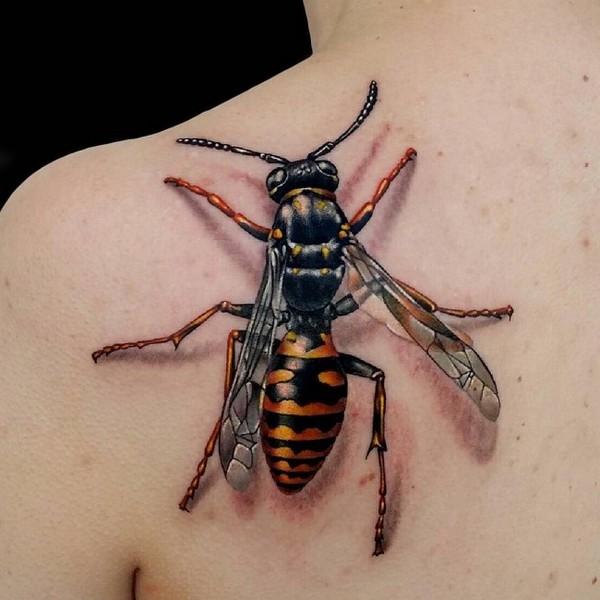 Hình xăm con ong 3D đẹp
