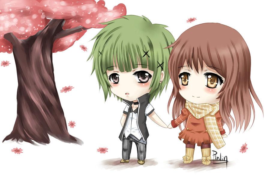 Anime 2 chibi hóng gió dưới cây